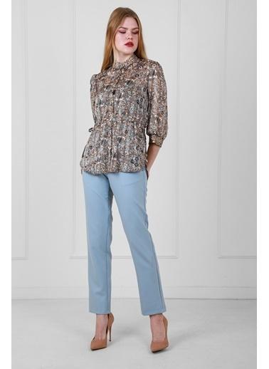 JEANNE D'ARC Çiçek Desenli Tunik Ve Pantolon Set Mavi